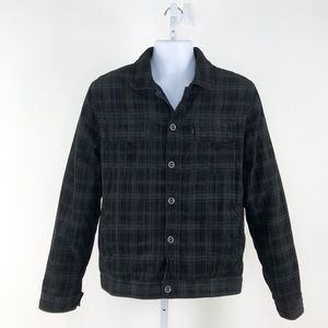 Hurley Black Grey Quilted Button Front Jacket